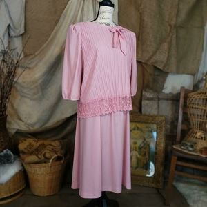 Vintage Dresses - Vintage 1980s pink lace dress by the brand Cue.